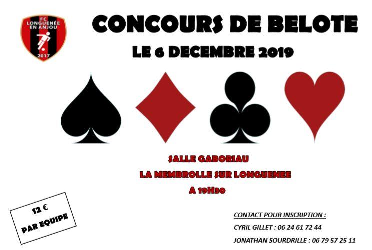 Concours de Belote Vendredi 6 Decembre «Salle Gaboriau Membrolle»